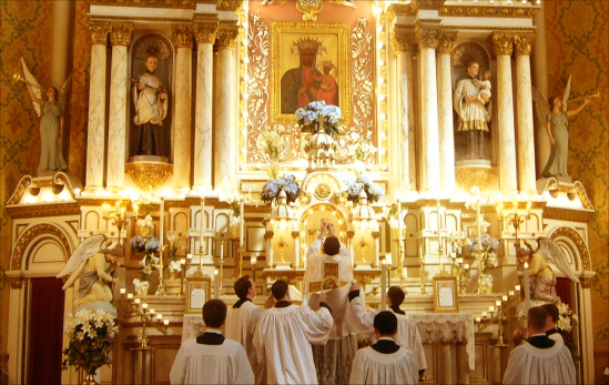 The elevation of the Blessed Sacrament.