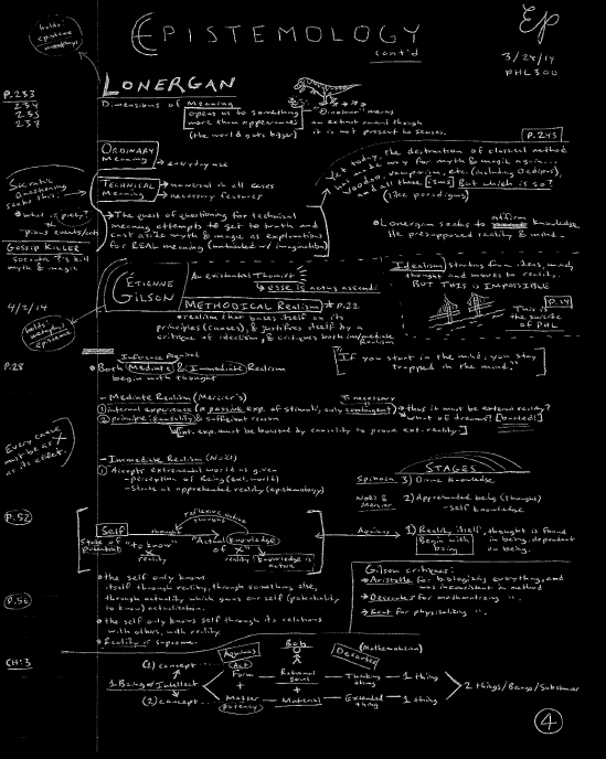 [above is my 4th page of notes from my Philosophy 300 class: Epistemology]