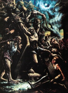 [the Crucifixion of St. Andrew by Peter Howson]